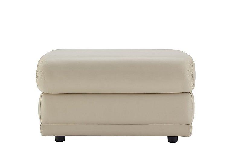 Milton Leather Storage Footstool in P231 Capri Stone on Furniture Village
