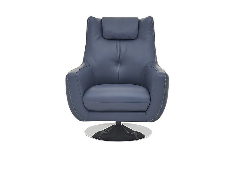 Sanza Leather Swivel Armchair in Bv-313e Ocean Blue on Furniture Village