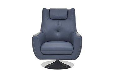 Sanza Leather Swivel Armchair in Bv-313e Ocean Blue on Furniture Village