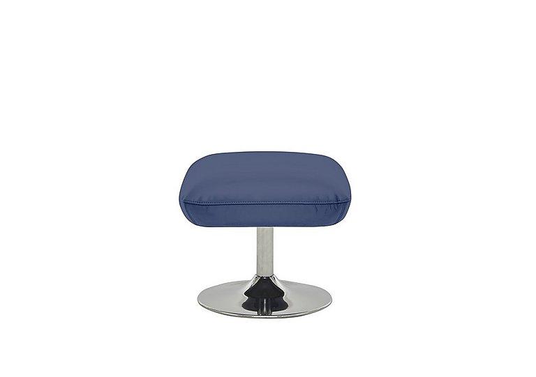 Sanza Leather Footstool in Bv-313e Ocean Blue on Furniture Village