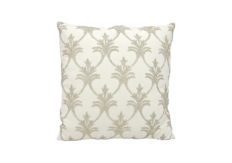 Fleur de Lis Cushion in Silver on Furniture Village