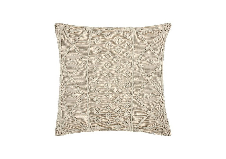 Macrame Cushion in Silver on Furniture Village
