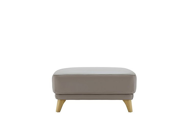 Pip Leather Footstool in P311 Dreams Fog on Furniture Village