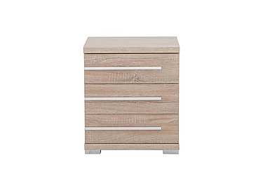 Laguna 3 Drawer Bedside Table Left Side Handles in Light Rustic Oak on Furniture Village