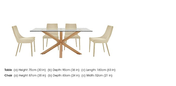 Evoque 160cm Dining Table and 4 Vista Chairs in  on Furniture Village