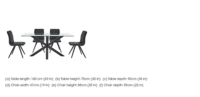 Evoque 160cm Dining Table and 4 Prism Chairs in  on Furniture Village