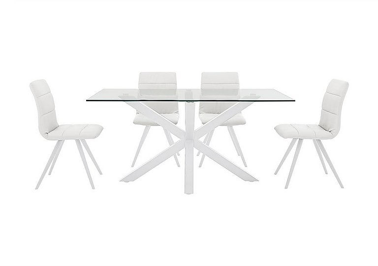 Evoque 160cm Dining Table and 4 Prism Chairs in Matt White / White Pu on Furniture Village