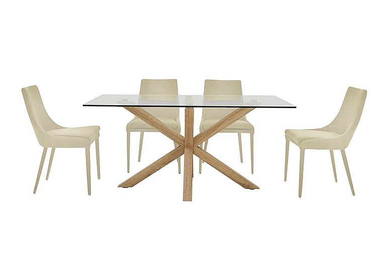 Evoque 200cm Dining Table and 4 Vista Chairs in Natural on Furniture Village