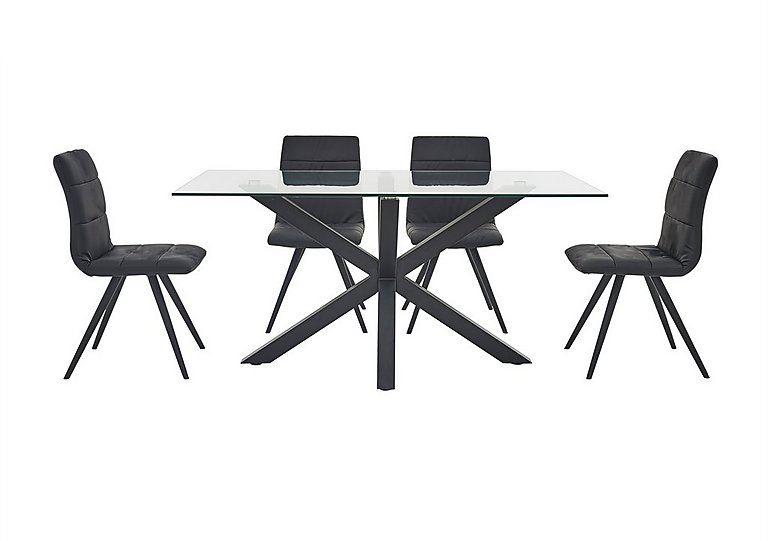 Evoque 200cm Dining Table and 4 Prism Chairs in Matt Black / Black Pu on Furniture Village
