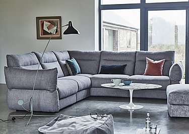 Tess Leather Corner Sofa in  on Furniture Village