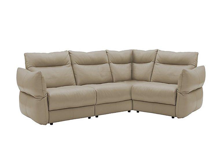 Tess Leather Corner Sofa in P321 Husk Clay on Furniture Village