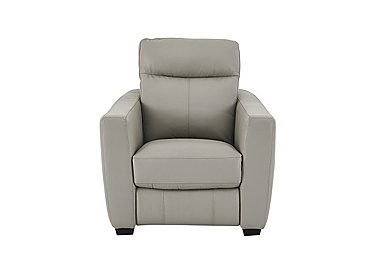 Compact Collection Midi Leather Recliner Armchair in Bv-946b Silver Grey on Furniture Village