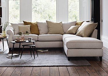Sahara Fabric Pillow Back Corner Sofa with Footstool in  on Furniture Village