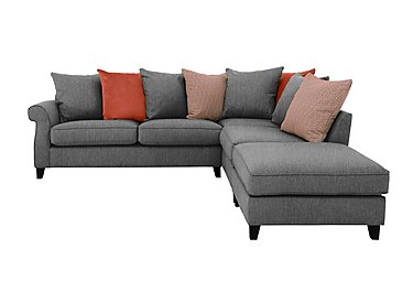 Sahara Fabric Pillow Back Corner Sofa with Footstool in Benbeigh Grey Dark Feet on Furniture Village