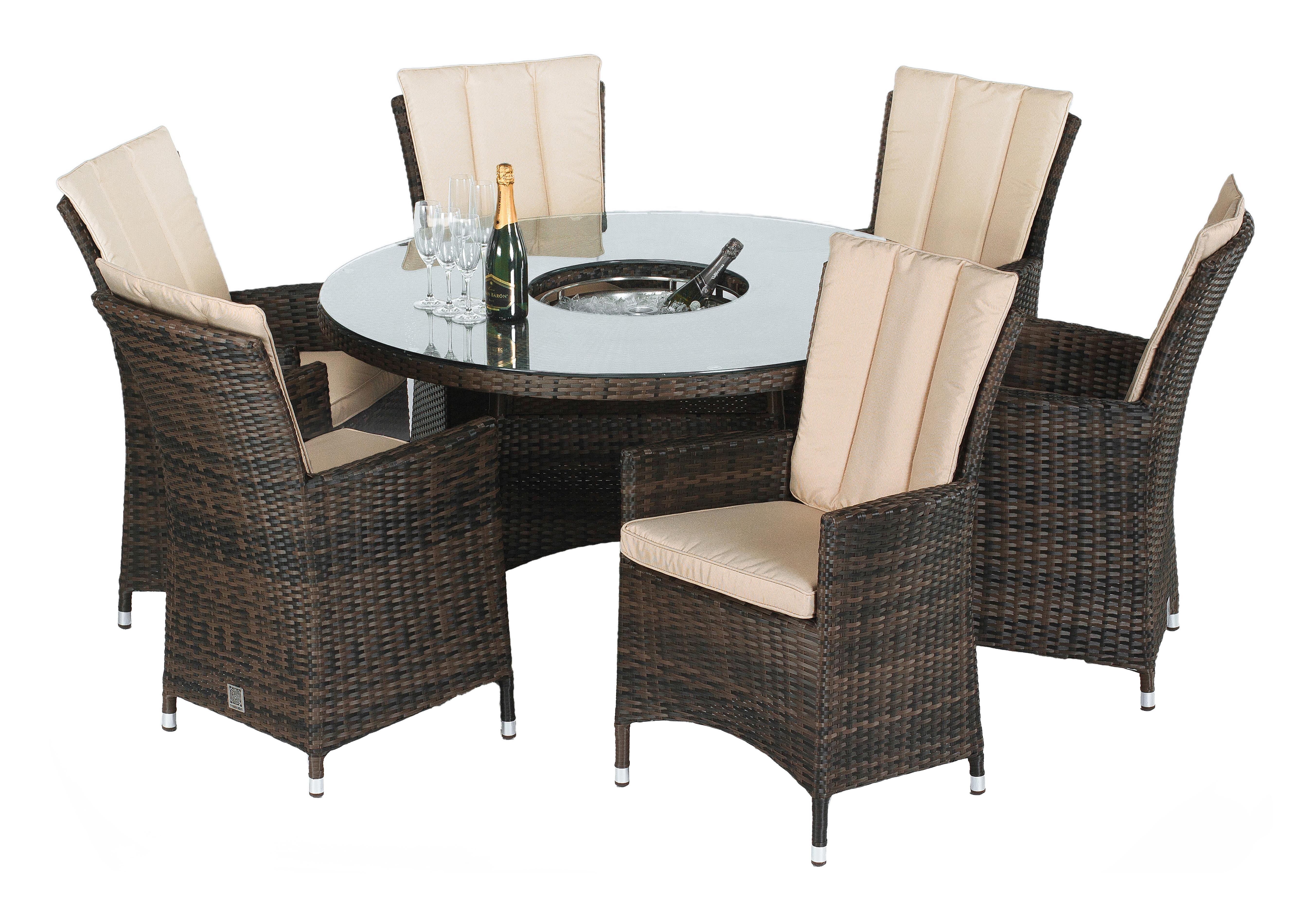 Picture of: Oasis 6 Seater Dining Set With Ice Bucket Table Parasol Furniture Village