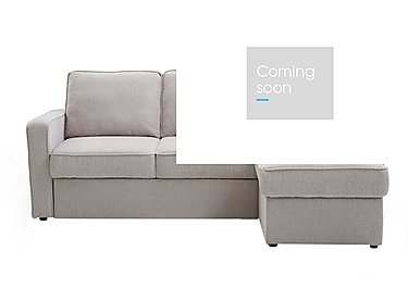 Ava Fabric Chaise Sofa Bed with Storage in Mushroom Chennille on Furniture Village
