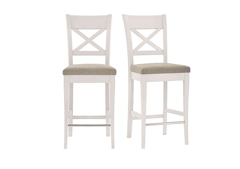 Annecy Pair of Fabric Cross Back Bar Stools in Pebble Grey on Furniture Village
