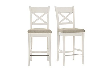 Annecy Pair of Fabric Cross Back Bar Stools in Sand on Furniture Village