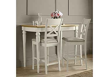 Annecy Bar Table with 2 Leather Cross Back Bar Stools in  on Furniture Village