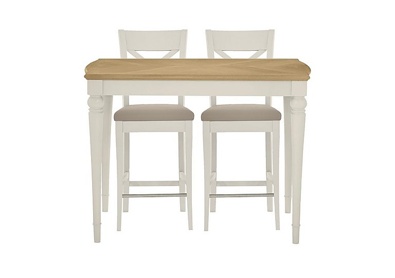 annecy bar table with 2 leather cross back bar stools