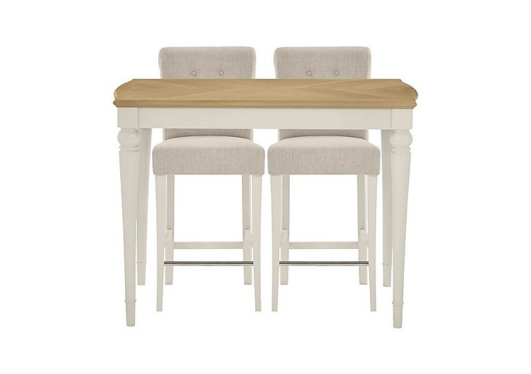 annecy bar table with 2 fabric roll back bar stools