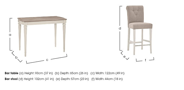 Annecy Bar Table with 2 Fabric Roll Back Bar Stools in  on Furniture Village