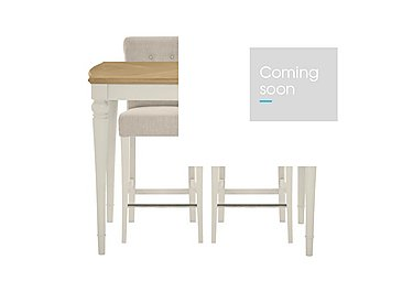 Annecy Bar Table with 2 Fabric Roll Back Bar Stools in Antique White Paint on Furniture Village