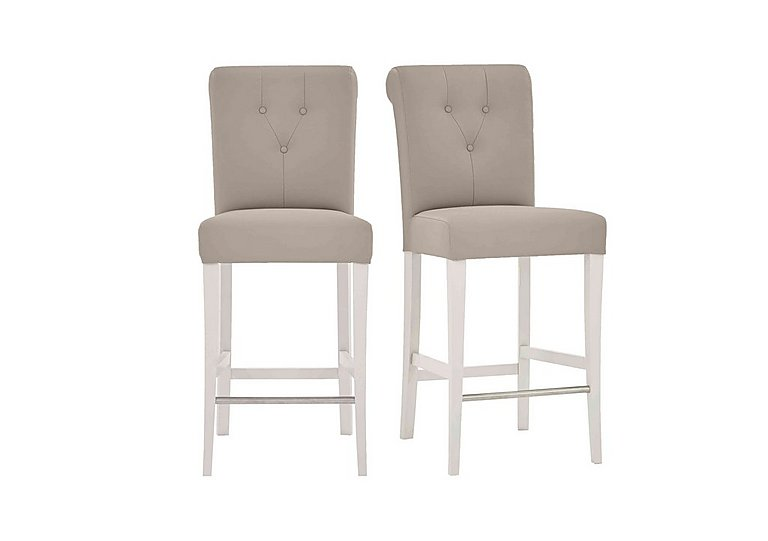 Annecy Pair of Leather Roll Back Bar Stools in Grey Bonded on Furniture Village