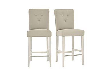 Annecy Pair of Faux Leather Roll Back Bar Stools in Ivory on Furniture Village
