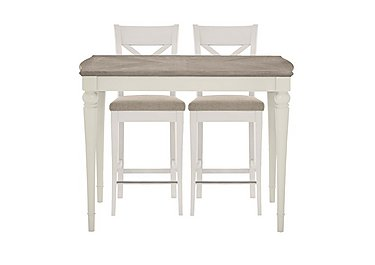 Annecy Bar Table with 2 Fabric Cross Back Bar Stools in Soft Grey Paint on Furniture Village