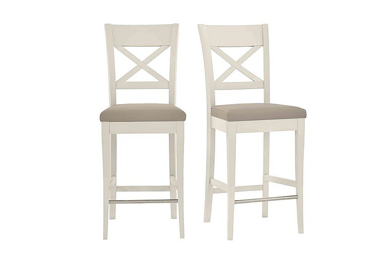 Annecy Pair of Leather Cross Back Bar Stools in Grey Bonded on Furniture Village