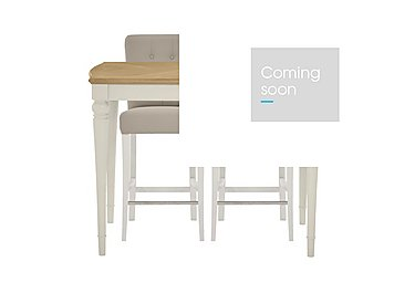Annecy Bar Table with 2 Leather Roll Back Bar Stools in Antique White Paint on Furniture Village