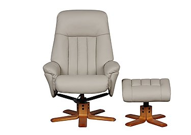 Paris Leather Recliner Armchair and Footstool in Bone Plush on Furniture Village