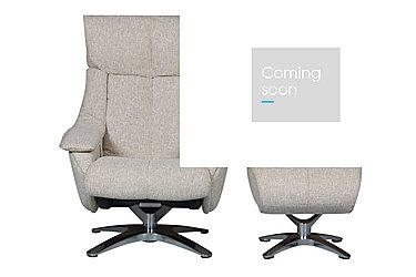 Prague Fabric Recliner Swivel Armchair and Footstool in Salt And Pepper on Furniture Village