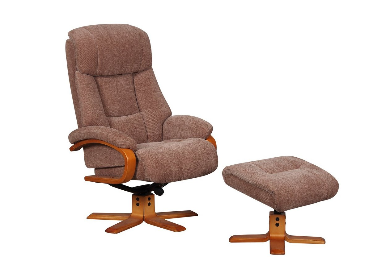 Munich Fabric Swivel Recliner Armchair with Footstool