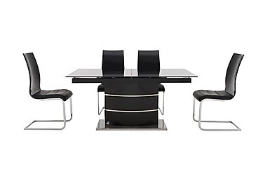 Malibu Black Table and 4 Lacquer Dining Chairs in Black on Furniture Village