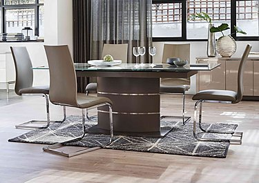 Malibu Taupe Table and 4 Lacquer Dining Chairs in  on Furniture Village