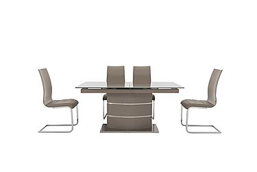 Malibu Taupe Table and 4 Lacquer Dining Chairs in Taupe on Furniture Village