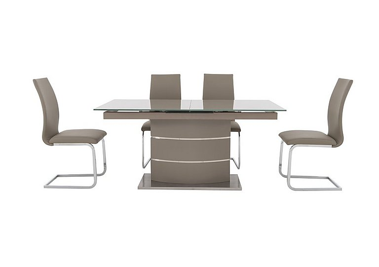 Malibu Taupe Table and 4 Dining Chairs in Taupe on Furniture Village
