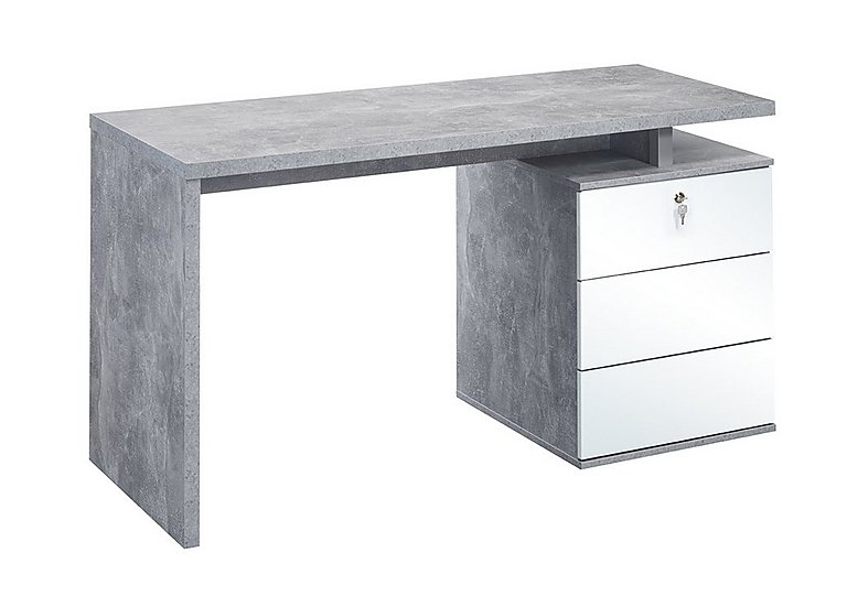 South Street Seaport Computer Desk in Concrete & White High Gloss on Furniture Village