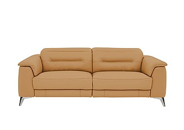 Sanza 3 Seater Leather Recliner Sofa in Nc-335e Honey Yellow on Furniture Village