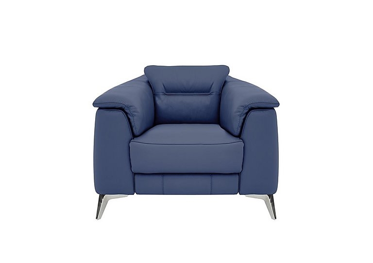 Sanza Leather Recliner Armchair in Bv-313e Ocean Blue on Furniture Village