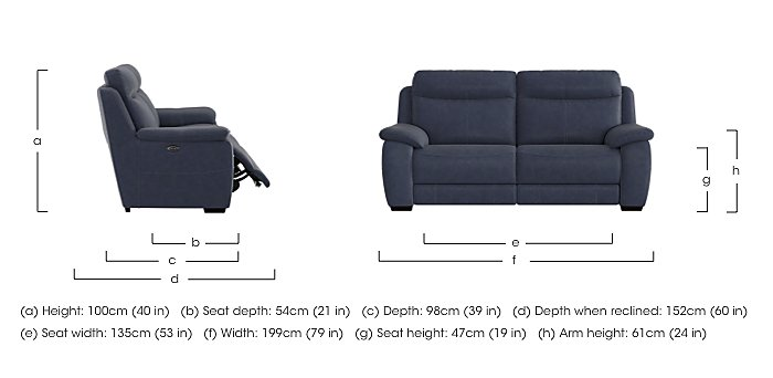Starlight Express 3 Seater Fabric Recliner Sofa with Power Headrests in  on Furniture Village