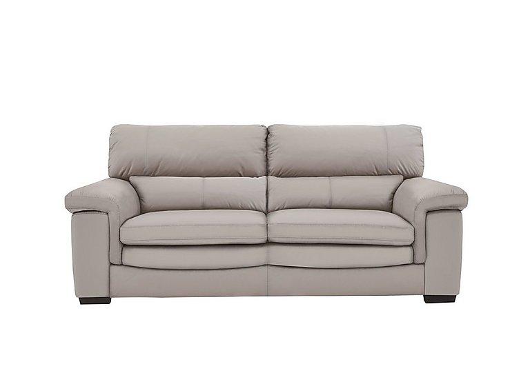 Georgia 2 Seater Leather Sofa in Bv-946b Silver Grey on Furniture Village