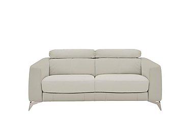 Flavio 2 Seater Leather Sofa in Bv-946b Silver Grey on Furniture Village