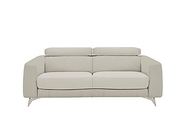 Flavio 3 Seater Leather Sofa in Bv-946b Silver Grey on Furniture Village