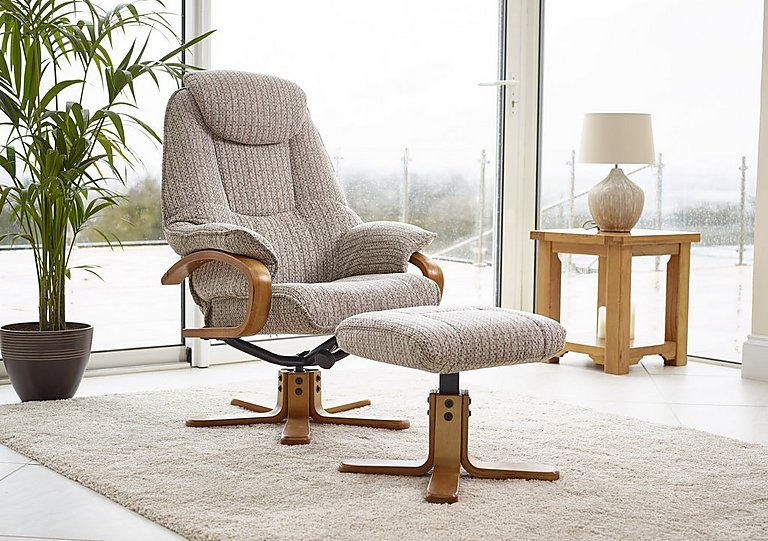 Attractive Zurich Fabric Swivel Armchair And Footstool