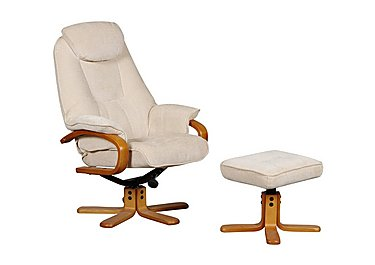 Zurich Fabric Swivel Armchair and Footstool in Beige on Furniture Village