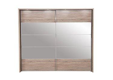 Laguna 2 Door Slider Wardrobe With Lights 260cm in Lt Rustic Oak/Mirrors on Furniture Village