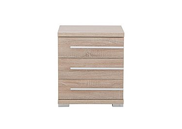 Laguna 3 Drawer Bedside Table Right Side Handles in Light Rustic Oak on Furniture Village